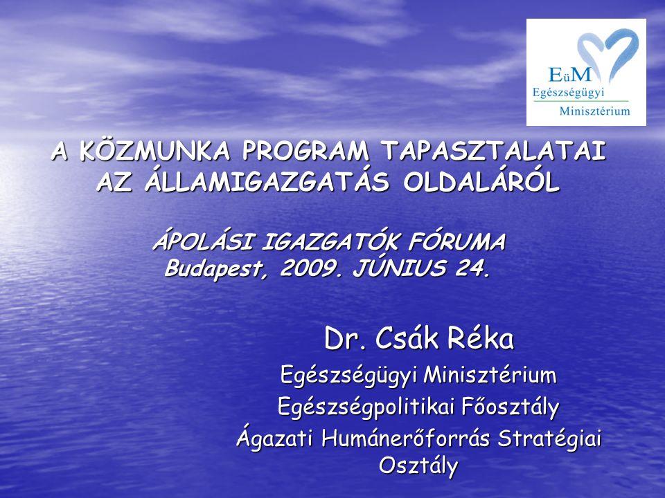 A KÖZMUNKA PROGRAM TAPASZTALATAI AZ ÁLLAMIGAZGATÁS OLDALÁRÓL ÁPOLÁSI IGAZGATÓK FÓRUMA Budapest, 2009. JÚNIUS 24. Dr. Csák Réka Egészségügyi Minisztéri
