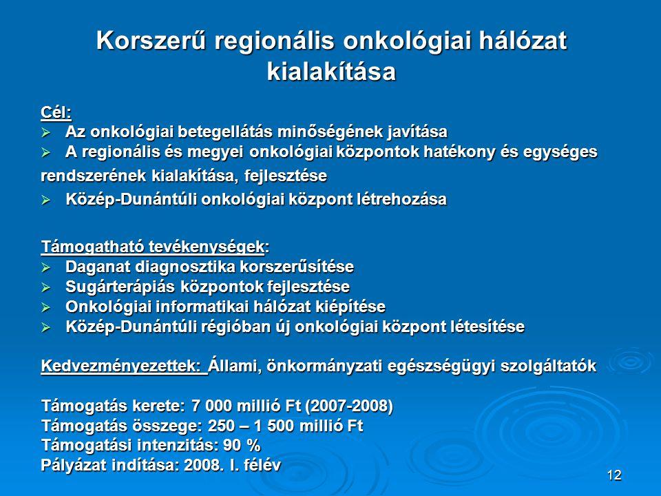 12 Korszerű regionális onkológiai hálózat kialakítása Cél:  Az onkológiai betegellátás minőségének javítása  A regionális és megyei onkológiai központok hatékony és egységes rendszerének kialakítása, fejlesztése  Közép-Dunántúli onkológiai központ létrehozása Támogatható tevékenységek:  Daganat diagnosztika korszerűsítése  Sugárterápiás központok fejlesztése  Onkológiai informatikai hálózat kiépítése  Közép-Dunántúli régióban új onkológiai központ létesítése Kedvezményezettek: Állami, önkormányzati egészségügyi szolgáltatók Támogatás kerete: 7 000 millió Ft (2007-2008) Támogatás összege: 250 – 1 500 millió Ft Támogatási intenzitás: 90 % Pályázat indítása: 2008.
