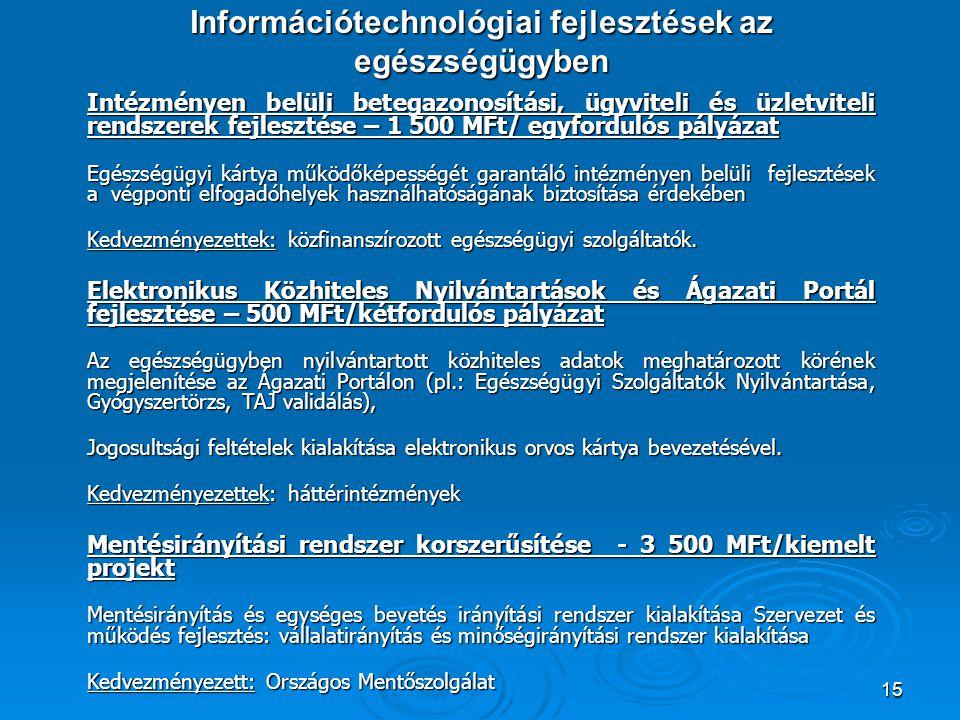 15 Információtechnológiai fejlesztések az egészségügyben Intézményen belüli betegazonosítási, ügyviteli és üzletviteli rendszerek fejlesztése – 1 500