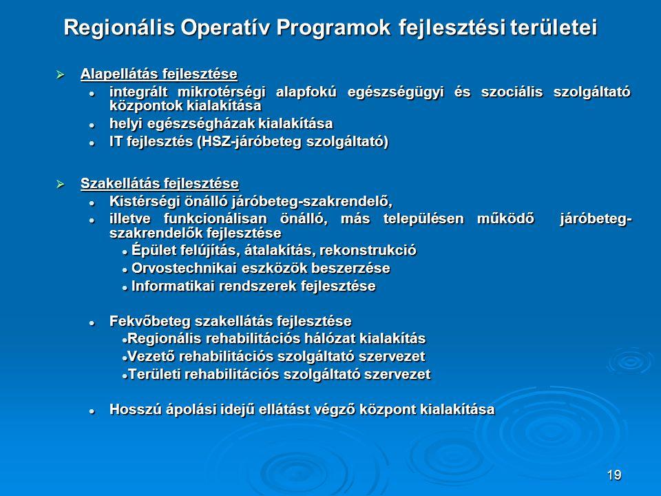 19 Regionális Operatív Programok fejlesztési területei  Alapellátás fejlesztése integrált mikrotérségi alapfokú egészségügyi és szociális szolgáltató központok kialakítása integrált mikrotérségi alapfokú egészségügyi és szociális szolgáltató központok kialakítása helyi egészségházak kialakítása helyi egészségházak kialakítása IT fejlesztés (HSZ-járóbeteg szolgáltató) IT fejlesztés (HSZ-járóbeteg szolgáltató)  Szakellátás fejlesztése Kistérségi önálló járóbeteg-szakrendelő, Kistérségi önálló járóbeteg-szakrendelő, illetve funkcionálisan önálló, más településen működő járóbeteg- szakrendelők fejlesztése illetve funkcionálisan önálló, más településen működő járóbeteg- szakrendelők fejlesztése Épület felújítás, átalakítás, rekonstrukció Épület felújítás, átalakítás, rekonstrukció Orvostechnikai eszközök beszerzése Orvostechnikai eszközök beszerzése Informatikai rendszerek fejlesztése Informatikai rendszerek fejlesztése Fekvőbeteg szakellátás fejlesztése Fekvőbeteg szakellátás fejlesztése Regionális rehabilitációs hálózat kialakítás Regionális rehabilitációs hálózat kialakítás Vezető rehabilitációs szolgáltató szervezet Vezető rehabilitációs szolgáltató szervezet Területi rehabilitációs szolgáltató szervezet Területi rehabilitációs szolgáltató szervezet Hosszú ápolási idejű ellátást végző központ kialakítása Hosszú ápolási idejű ellátást végző központ kialakítása
