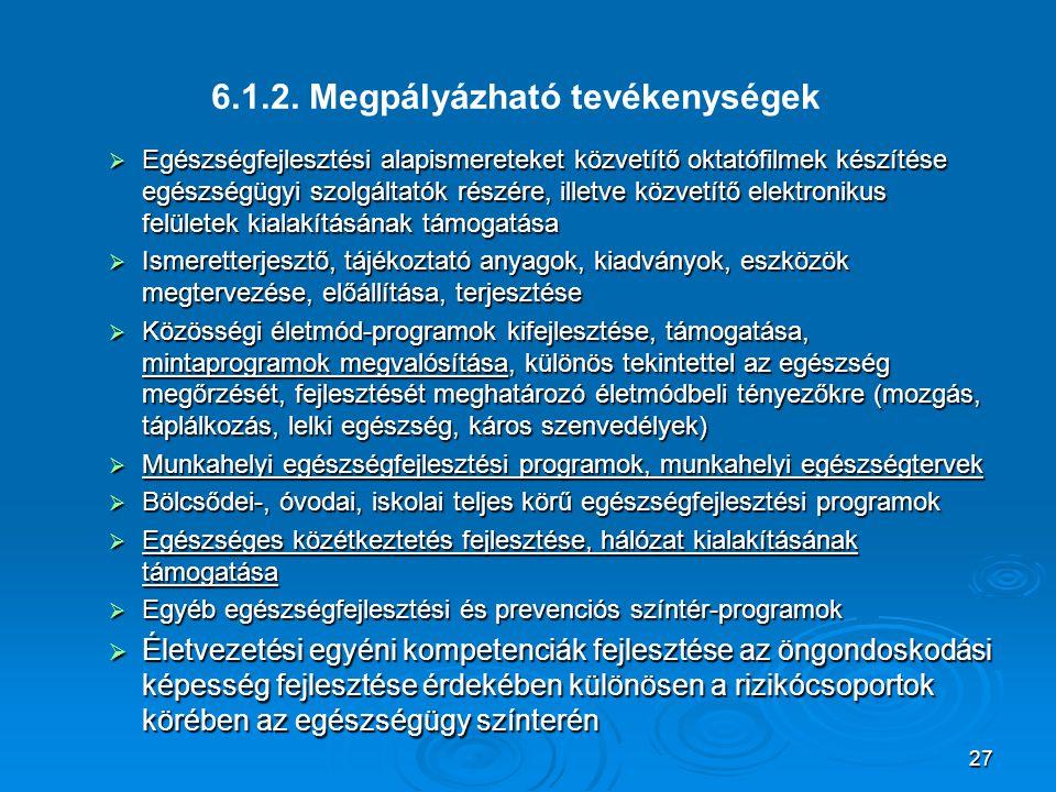 27 6.1.2. Megpályázható tevékenységek  Egészségfejlesztési alapismereteket közvetítő oktatófilmek készítése egészségügyi szolgáltatók részére, illetv