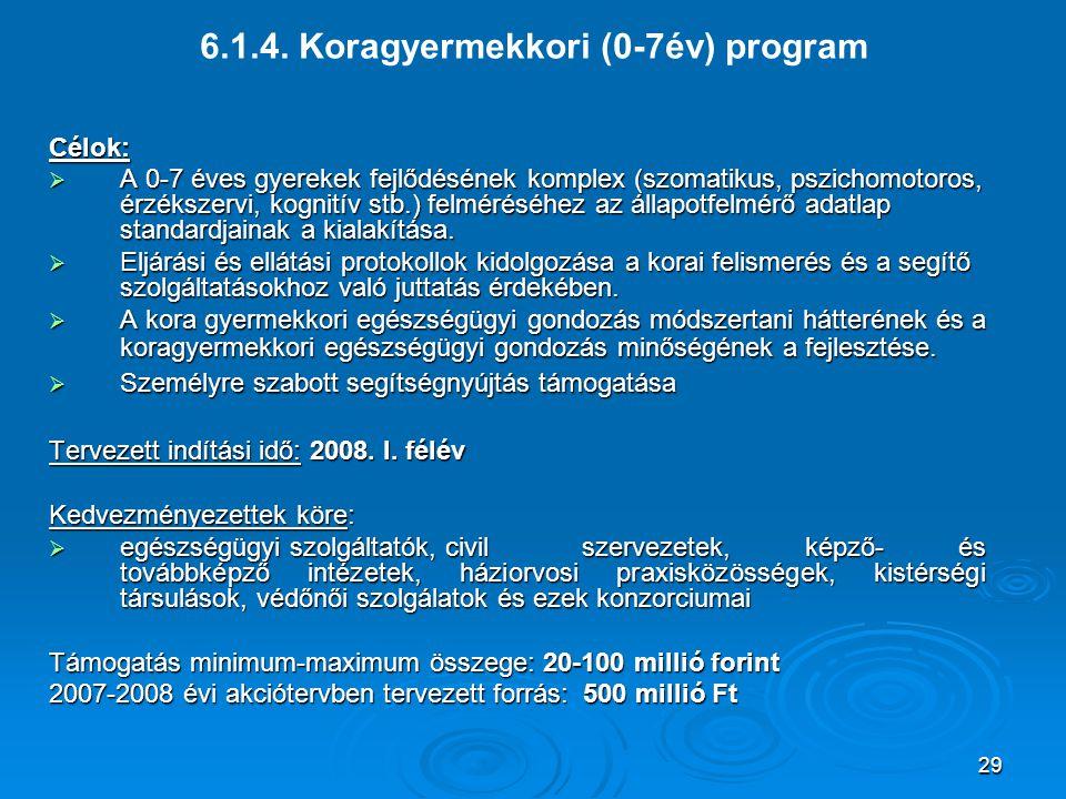29 6.1.4. Koragyermekkori (0-7év) programCélok:  A 0-7 éves gyerekek fejlődésének komplex (szomatikus, pszichomotoros, érzékszervi, kognitív stb.) fe