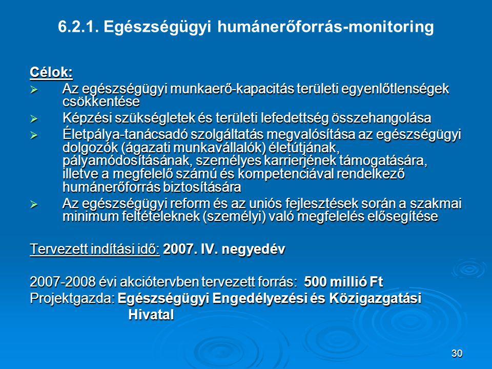 30 6.2.1. Egészségügyi humánerőforrás-monitoring Célok:  Az egészségügyi munkaerő-kapacitás területi egyenlőtlenségek csökkentése  Képzési szükségle