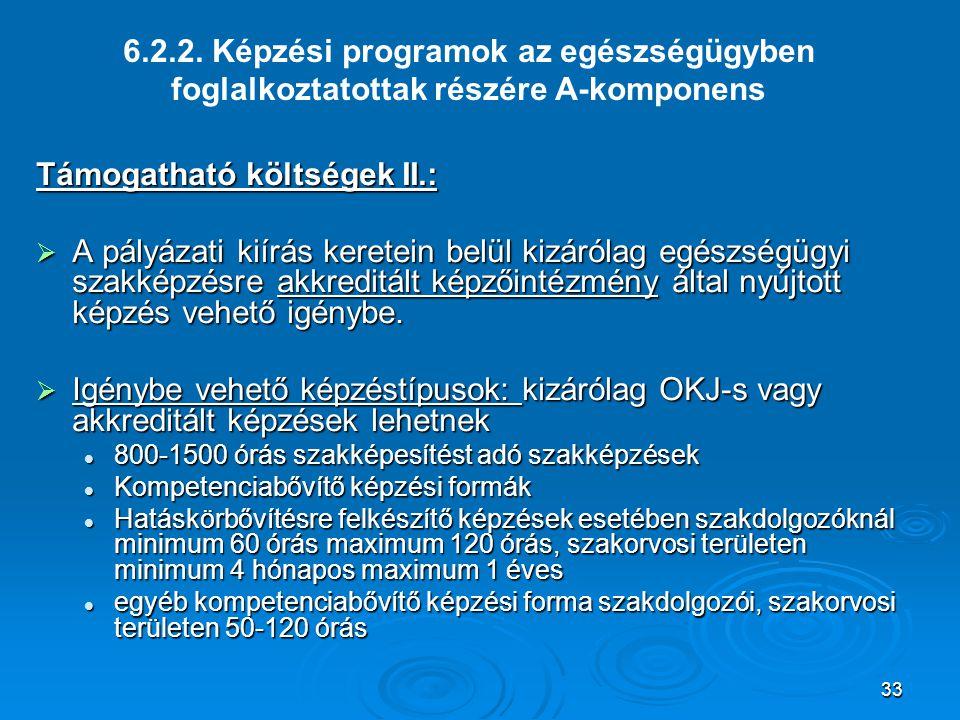 33 6.2.2. Képzési programok az egészségügyben foglalkoztatottak részére A-komponens Támogatható költségek II.:  A pályázati kiírás keretein belül kiz