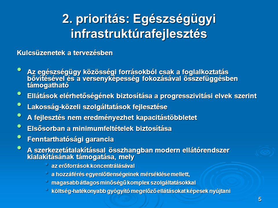 5 2. prioritás: Egészségügyi infrastruktúrafejlesztés Kulcsüzenetek a tervezésben Az egészségügy közösségi forrásokból csak a foglalkoztatás bővítésév