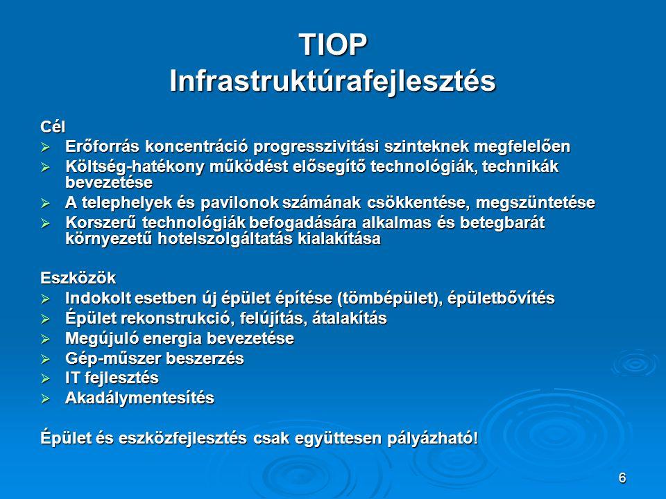 6 TIOP Infrastruktúrafejlesztés Cél  Erőforrás koncentráció progresszivitási szinteknek megfelelően  Költség-hatékony működést elősegítő technológiák, technikák bevezetése  A telephelyek és pavilonok számának csökkentése, megszüntetése  Korszerű technológiák befogadására alkalmas és betegbarát környezetű hotelszolgáltatás kialakítása Eszközök  Indokolt esetben új épület építése (tömbépület), épületbővítés  Épület rekonstrukció, felújítás, átalakítás  Megújuló energia bevezetése  Gép-műszer beszerzés  IT fejlesztés  Akadálymentesítés Épület és eszközfejlesztés csak együttesen pályázható!
