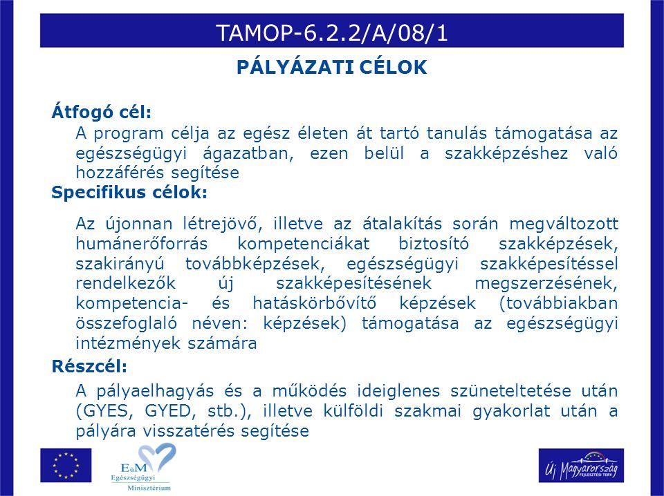 TAMOP-6.2.2/A/08/1 Átfogó cél: A program célja az egész életen át tartó tanulás támogatása az egészségügyi ágazatban, ezen belül a szakképzéshez való