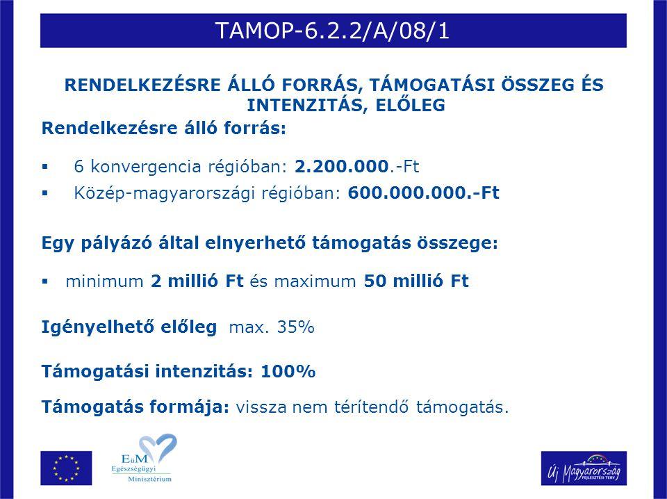 TAMOP-6.2.2/A/08/1 RENDELKEZÉSRE ÁLLÓ FORRÁS, TÁMOGATÁSI ÖSSZEG ÉS INTENZITÁS, ELŐLEG Rendelkezésre álló forrás:  6 konvergencia régióban: 2.200.000.