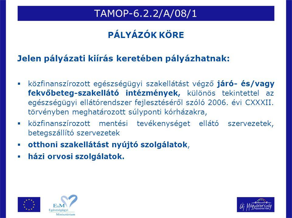 TAMOP-6.2.2/A/08/1 PÁLYÁZÓK KÖRE Jelen pályázati kiírás keretében pályázhatnak:  közfinanszírozott egészségügyi szakellátást végző járó- és/vagy fekv