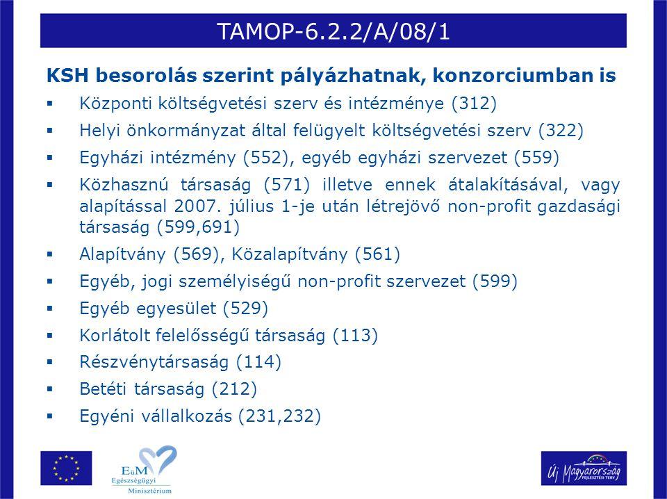 TAMOP-6.2.2/A/08/1 KSH besorolás szerint pályázhatnak, konzorciumban is  Központi költségvetési szerv és intézménye (312)  Helyi önkormányzat által