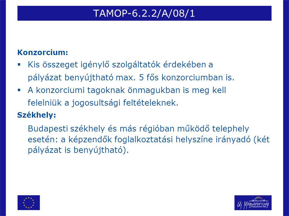 TAMOP-6.2.2/A/08/1 Konzorcium:  Kis összeget igénylő szolgáltatók érdekében a pályázat benyújtható max. 5 fős konzorciumban is.  A konzorciumi tagok