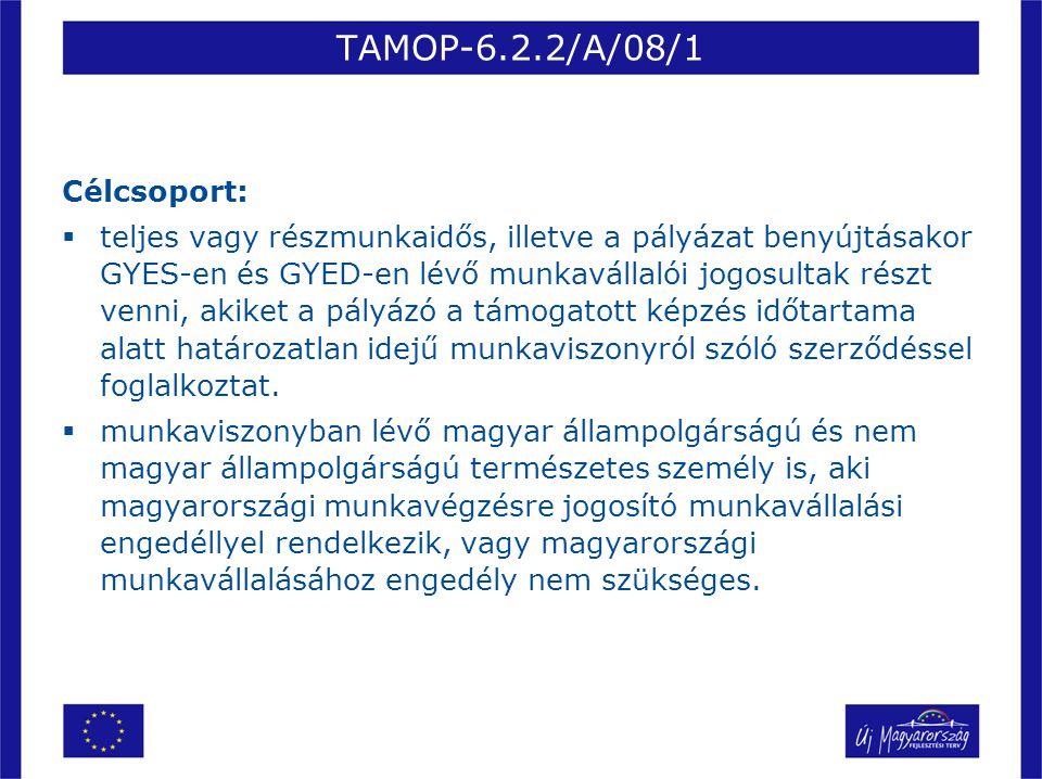 TAMOP-6.2.2/A/08/1 Célcsoport:  teljes vagy részmunkaidős, illetve a pályázat benyújtásakor GYES-en és GYED-en lévő munkavállalói jogosultak részt ve