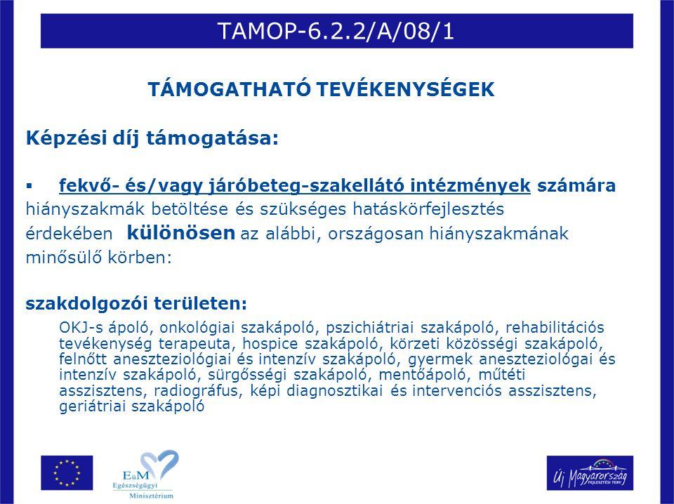 TAMOP-6.2.2/A/08/1 TÁMOGATHATÓ TEVÉKENYSÉGEK Képzési díj támogatása:  fekvő- és/vagy járóbeteg-szakellátó intézmények számára hiányszakmák betöltése