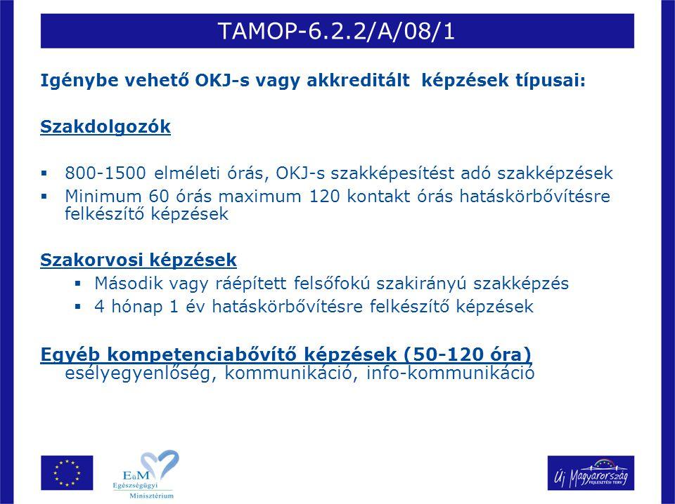 TAMOP-6.2.2/A/08/1 Igénybe vehető OKJ-s vagy akkreditált képzések típusai: Szakdolgozók  800-1500 elméleti órás, OKJ-s szakképesítést adó szakképzése