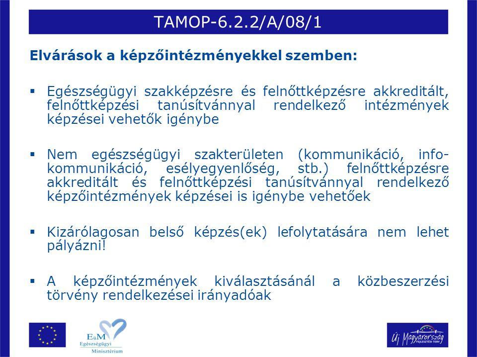 TAMOP-6.2.2/A/08/1 Elvárások a képzőintézményekkel szemben:  Egészségügyi szakképzésre és felnőttképzésre akkreditált, felnőttképzési tanúsítvánnyal