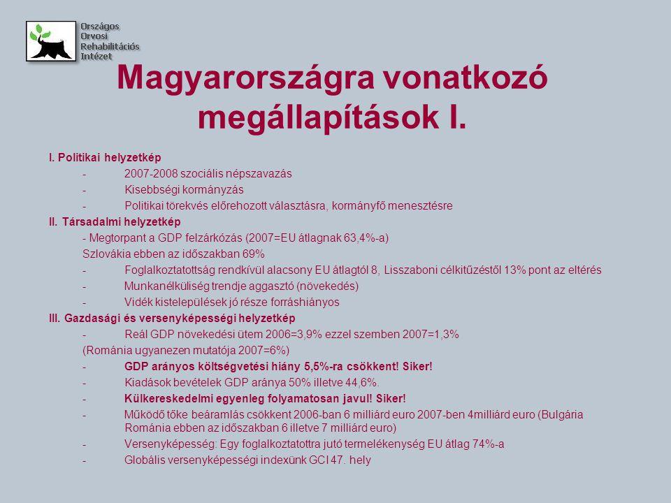 Magyarországra vonatkozó megállapítások I.I.