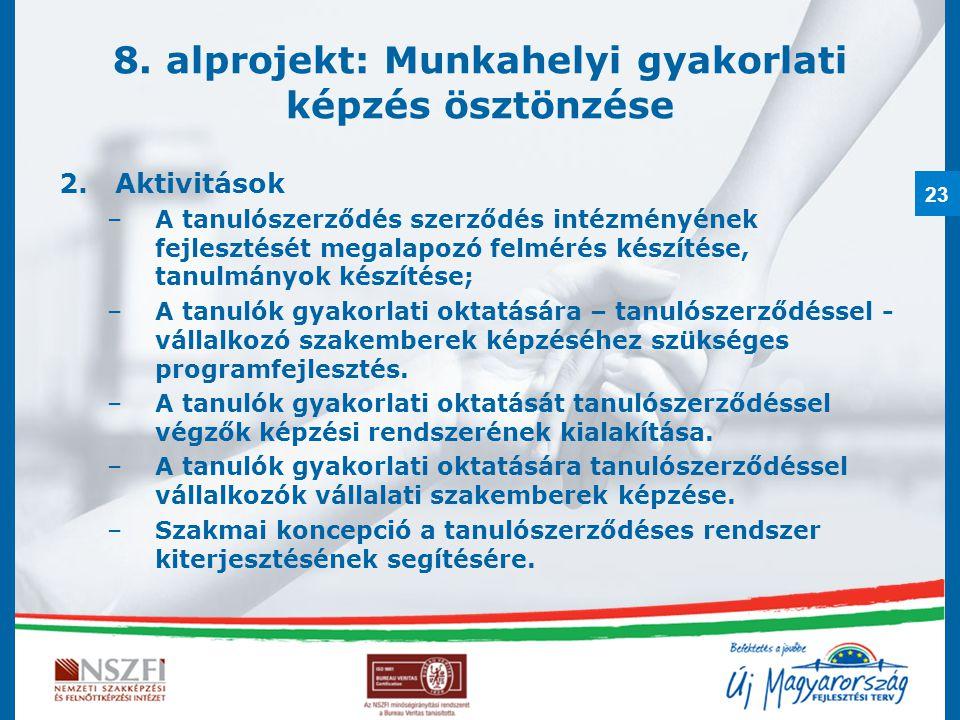 23 8. alprojekt: Munkahelyi gyakorlati képzés ösztönzése 2.Aktivitások –A tanulószerződés szerződés intézményének fejlesztését megalapozó felmérés kés