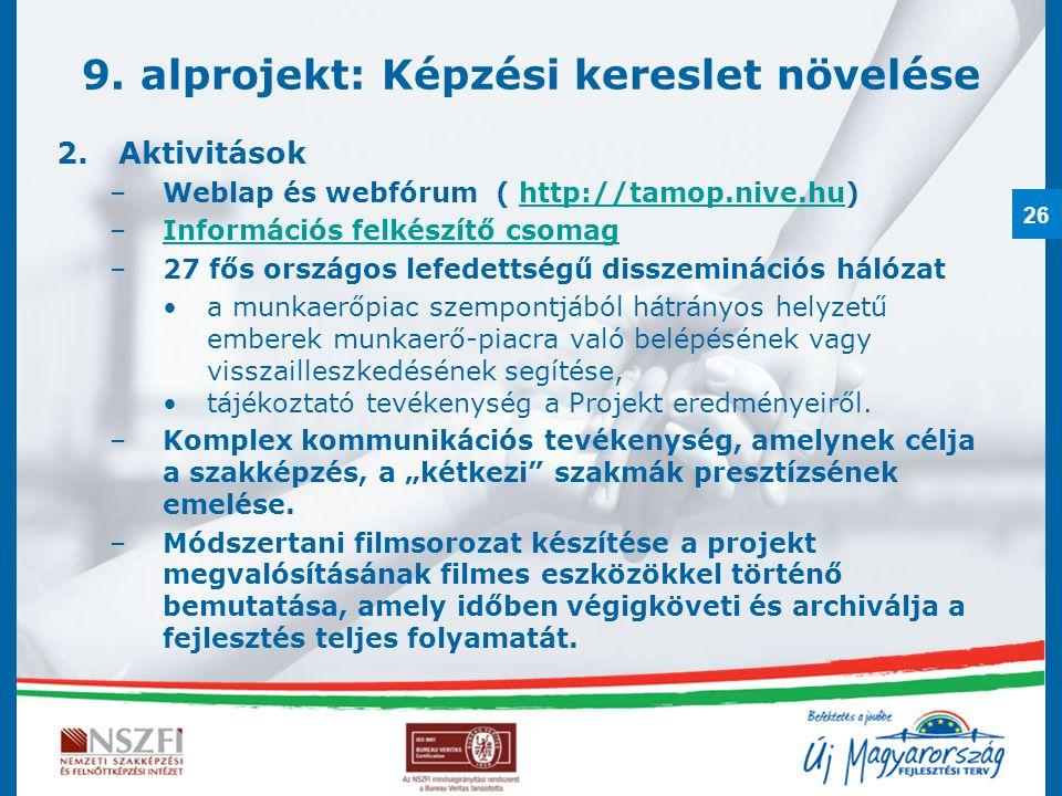 26 9. alprojekt: Képzési kereslet növelése 2.Aktivitások –Weblap és webfórum ( http://tamop.nive.hu)http://tamop.nive.hu –Információs felkészítő csoma