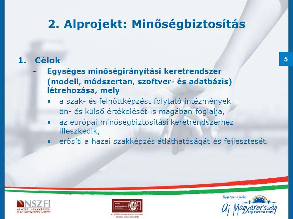 5 2. Alprojekt: Minőségbiztosítás 1.Célok –Egységes minőségirányítási keretrendszer (modell, módszertan, szoftver- és adatbázis) létrehozása, mely a s