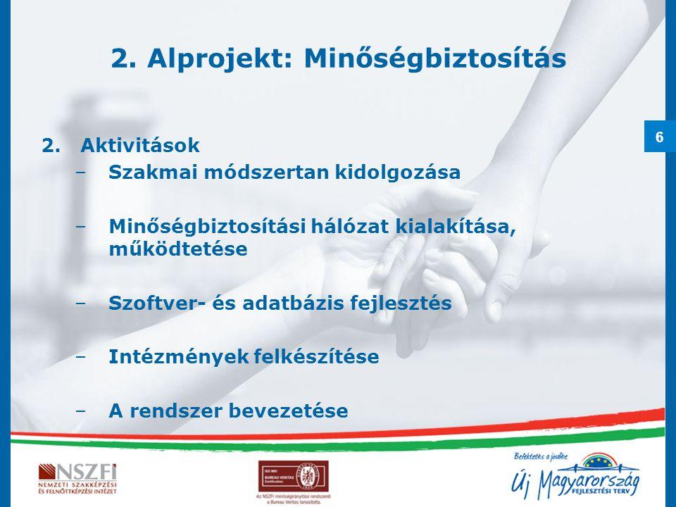 6 2. Alprojekt: Minőségbiztosítás 2.Aktivitások –Szakmai módszertan kidolgozása –Minőségbiztosítási hálózat kialakítása, működtetése –Szoftver- és ada