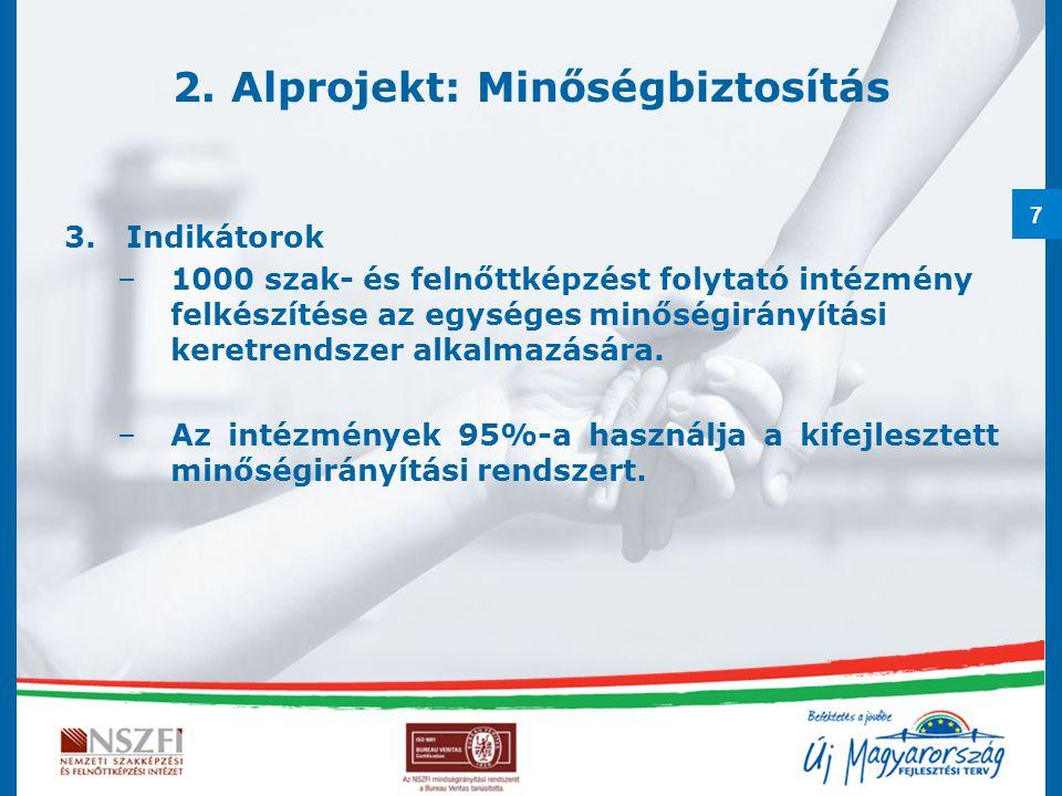 7 2. Alprojekt: Minőségbiztosítás 3.Indikátorok –1000 szak- és felnőttképzést folytató intézmény felkészítése az egységes minőségirányítási keretrends