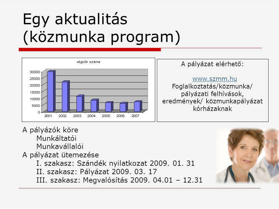 Egy aktualitás (közmunka program) A pályázat elérhető: www.szmm.hu Foglalkoztatás/közmunka/ pályázati felhívások, eredmények/ közmunkapályázat kórháza