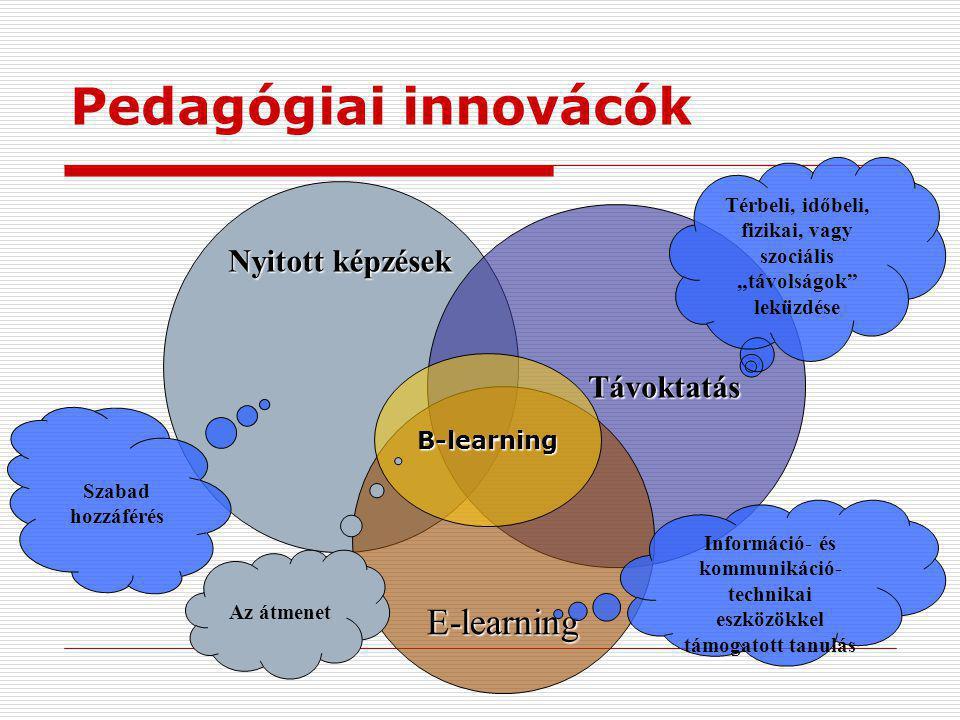 """Nyitott képzések Nyitott képzések Távoktatás E-learning Térbeli, időbeli, fizikai, vagy szociális """"távolságok leküzdése Információ- és kommunikáció- technikai eszközökkel támogatott tanulás Szabad hozzáférés Pedagógiai innovácók B-learning Az átmenet"""