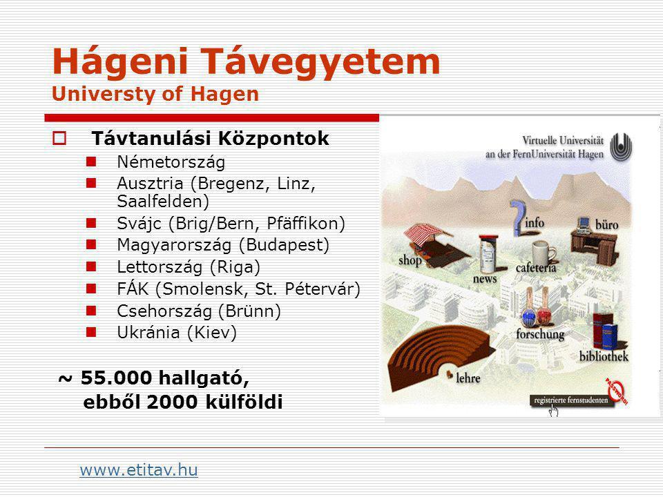 Hágeni Távegyetem Universty of Hagen  Távtanulási Központok Németország Ausztria (Bregenz, Linz, Saalfelden) Svájc (Brig/Bern, Pfäffikon) Magyarország (Budapest) Lettország (Riga) FÁK (Smolensk, St.