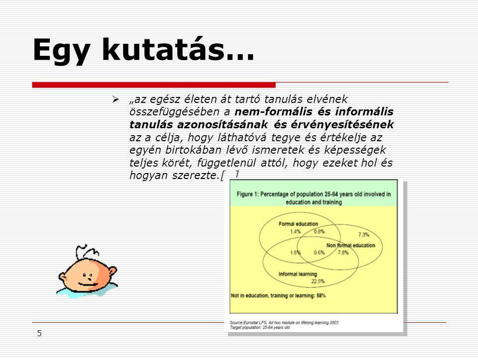 """5 Egy kutatás…  """"az egész életen át tartó tanulás elvének összefüggésében a nem-formális és informális tanulás azonosításának és érvényesítésének az"""