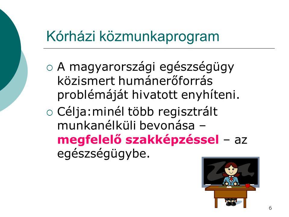 6 Kórházi közmunkaprogram  A magyarországi egészségügy közismert humánerőforrás problémáját hivatott enyhíteni.  Célja:minél több regisztrált munkan
