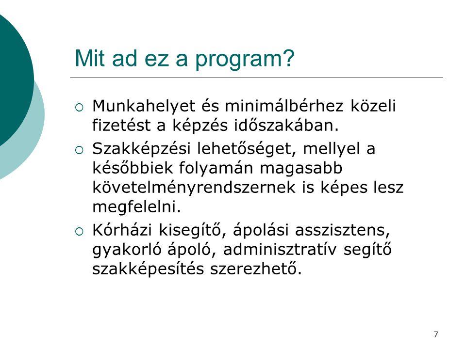7 Mit ad ez a program?  Munkahelyet és minimálbérhez közeli fizetést a képzés időszakában.  Szakképzési lehetőséget, mellyel a későbbiek folyamán ma