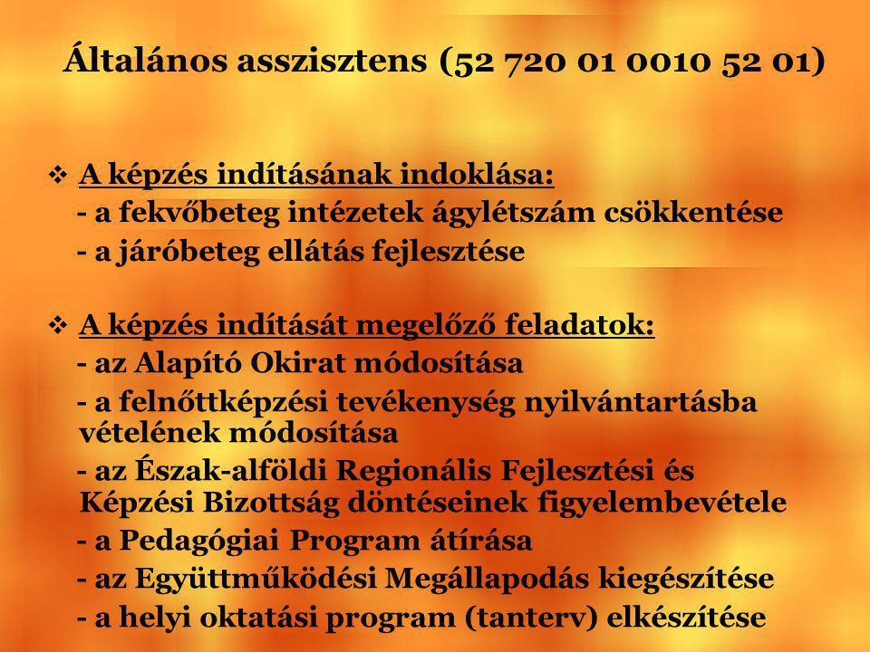 Általános asszisztens (52 720 01 0010 52 01)  A képzés indításának indoklása: - a fekvőbeteg intézetek ágylétszám csökkentése - a járóbeteg ellátás f