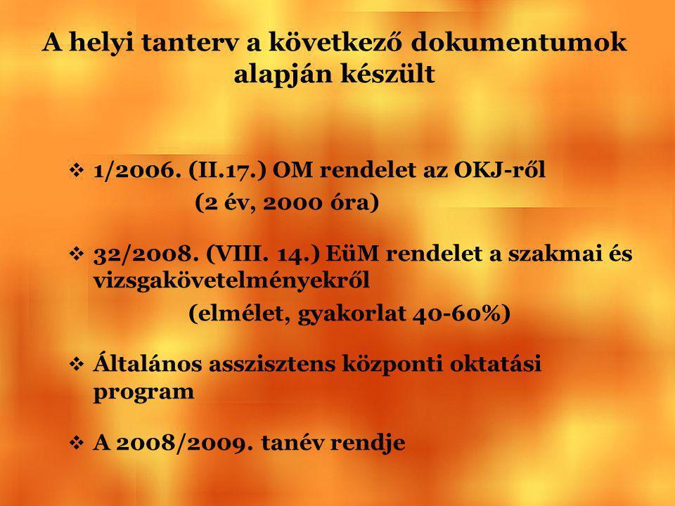 A helyi tanterv a következő dokumentumok alapján készült  1/2006. (II.17.) OM rendelet az OKJ-ről (2 év, 2000 óra)  32/2008. (VIII. 14.) EüM rendele