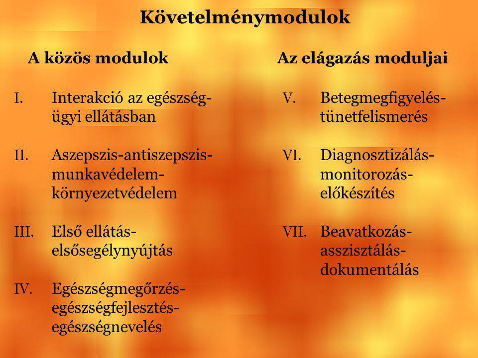 Követelménymodulok A közös modulok Az elágazás moduljai V. Betegmegfigyelés- tünetfelismerés VI. Diagnosztizálás- monitorozás- előkészítés VII. Beavat