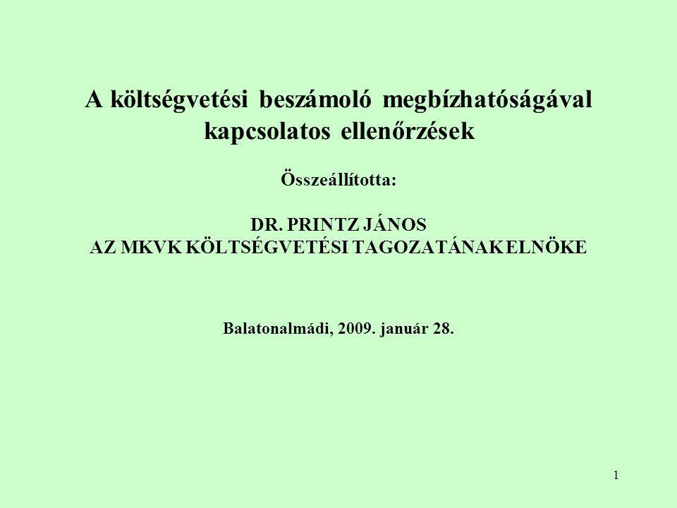 """22 A beszámoló megbízhatóságával kapcsolatos ellenőrzések """"menetrendje – II."""
