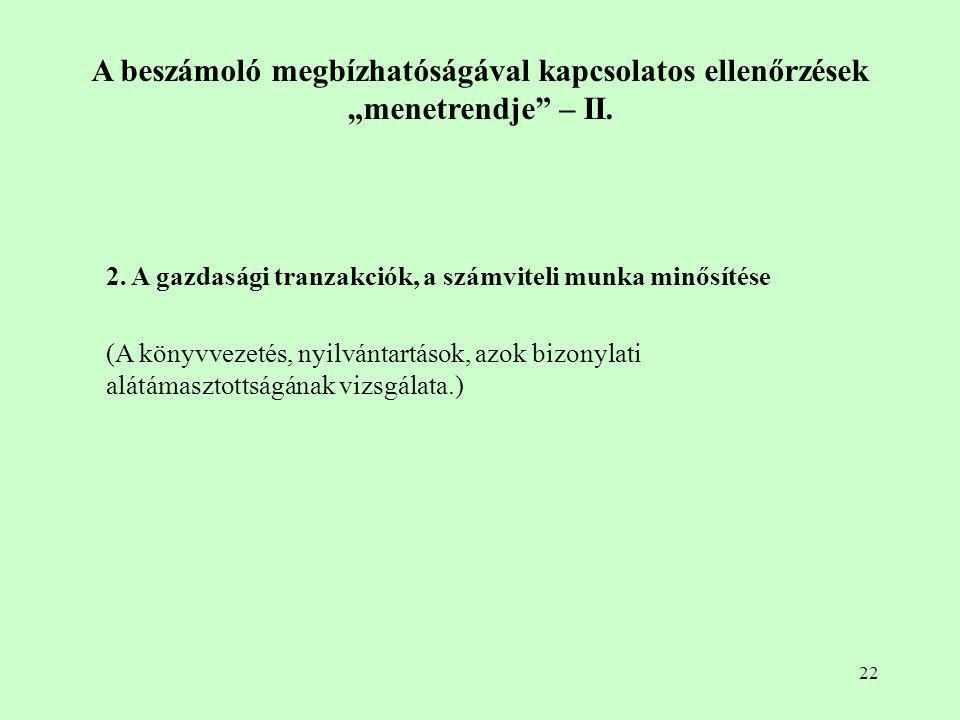 """22 A beszámoló megbízhatóságával kapcsolatos ellenőrzések """"menetrendje"""" – II. 2. A gazdasági tranzakciók, a számviteli munka minősítése (A könyvvezeté"""