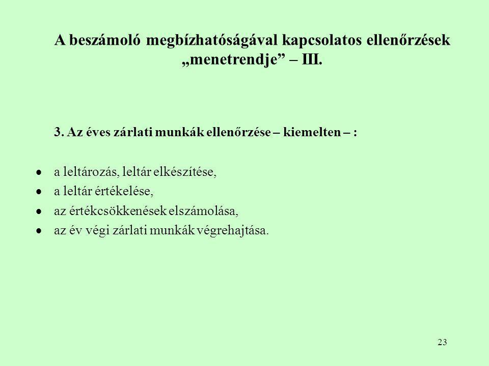 """23 A beszámoló megbízhatóságával kapcsolatos ellenőrzések """"menetrendje"""" – III. 3. Az éves zárlati munkák ellenőrzése – kiemelten – :  a leltározás, l"""
