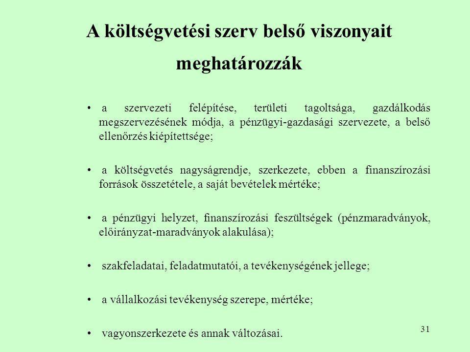 31 A költségvetési szerv belső viszonyait meghatározzák a szervezeti felépítése, területi tagoltsága, gazdálkodás megszervezésének módja, a pénzügyi-g