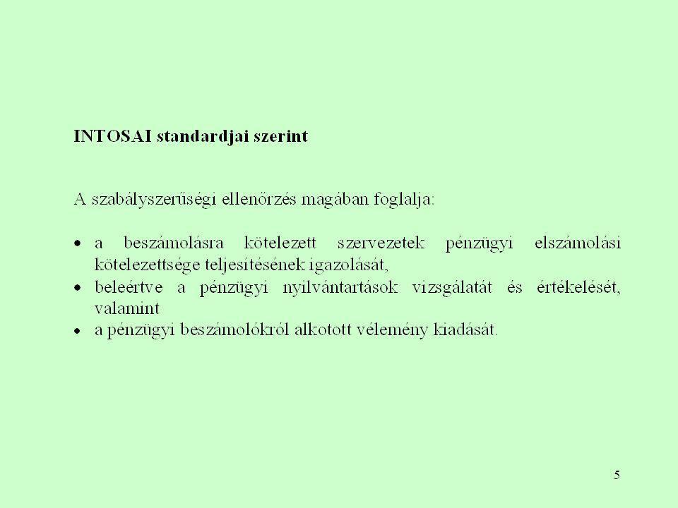 36 A belső kontroll rendszerek elemei a vizsgált szervezet gazdálkodási, elszámolási, számviteli rendszere, az adatfeldolgozás módja; a feladat-, jog- és felelősségi körök elkülönítése (engedélyezés, jóváhagyás); vagyontárgyak megőrzése (fizikai); számszaki és számviteli eljárások; személyi feltételek; folyamatba épített ellenőrzés (FEUVE); vezetés.