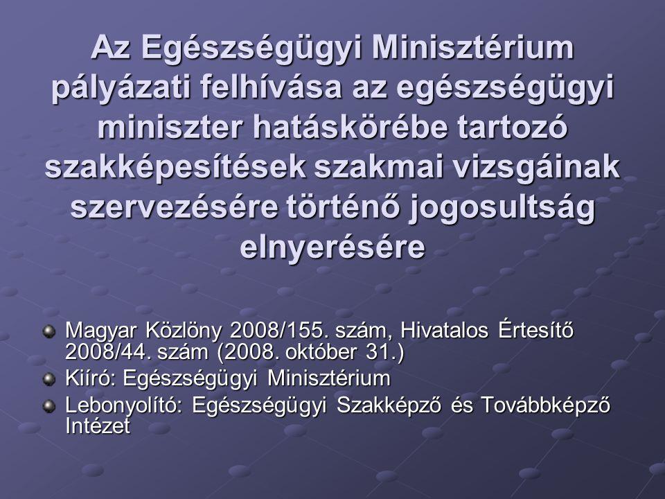 Az Egészségügyi Minisztérium pályázati felhívása az egészségügyi miniszter hatáskörébe tartozó szakképesítések szakmai vizsgáinak szervezésére történő jogosultság elnyerésére Magyar Közlöny 2008/155.