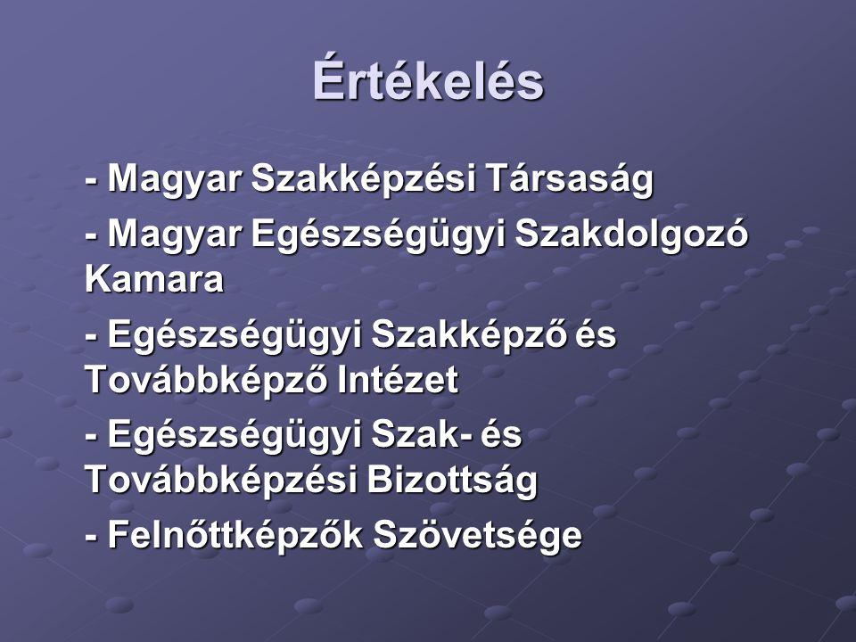 Értékelés - Magyar Szakképzési Társaság - Magyar Egészségügyi Szakdolgozó Kamara - Egészségügyi Szakképző és Továbbképző Intézet - Egészségügyi Szak- és Továbbképzési Bizottság - Felnőttképzők Szövetsége