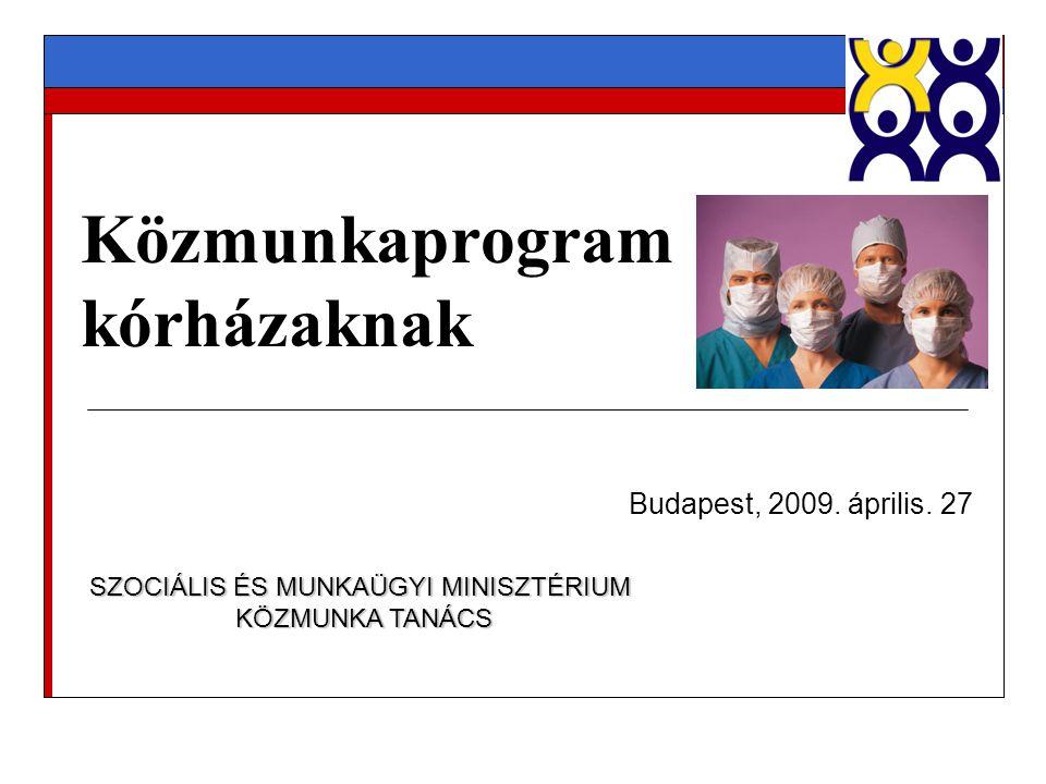 Közmunkaprogram kórházaknak Budapest, 2009. április. 27 SZOCIÁLIS ÉS MUNKAÜGYI MINISZTÉRIUM KÖZMUNKA TANÁCS KÖZMUNKA TANÁCS