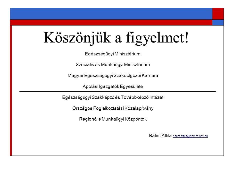 Köszönjük a figyelmet! Egészségügyi Minisztérium Szociális és Munkaügyi Minisztérium Magyar Egészségügyi Szakdolgozói Kamara Ápolási Igazgatók Egyesül