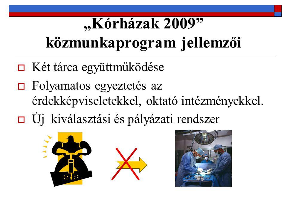 """""""Kórházak 2009"""" közmunkaprogram jellemzői  Két tárca együttműködése  Folyamatos egyeztetés az érdekképviseletekkel, oktató intézményekkel.  Új kivá"""