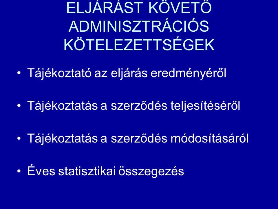 ELJÁRÁST KÖVETŐ ADMINISZTRÁCIÓS KÖTELEZETTSÉGEK Tájékoztató az eljárás eredményéről Tájékoztatás a szerződés teljesítéséről Tájékoztatás a szerződés m