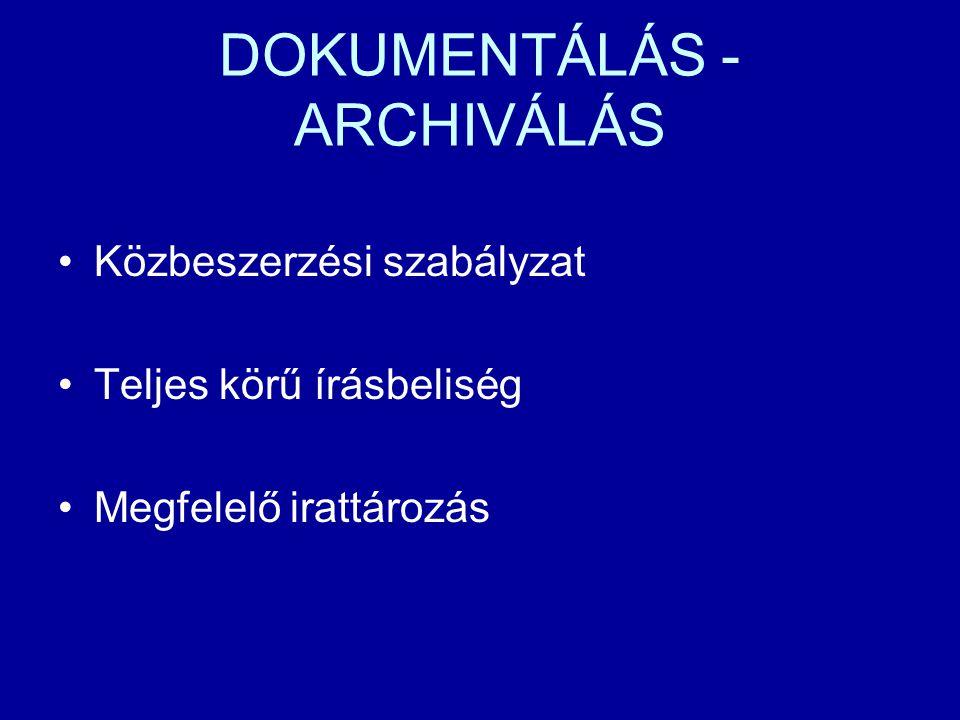 DOKUMENTÁLÁS - ARCHIVÁLÁS Közbeszerzési szabályzat Teljes körű írásbeliség Megfelelő irattározás