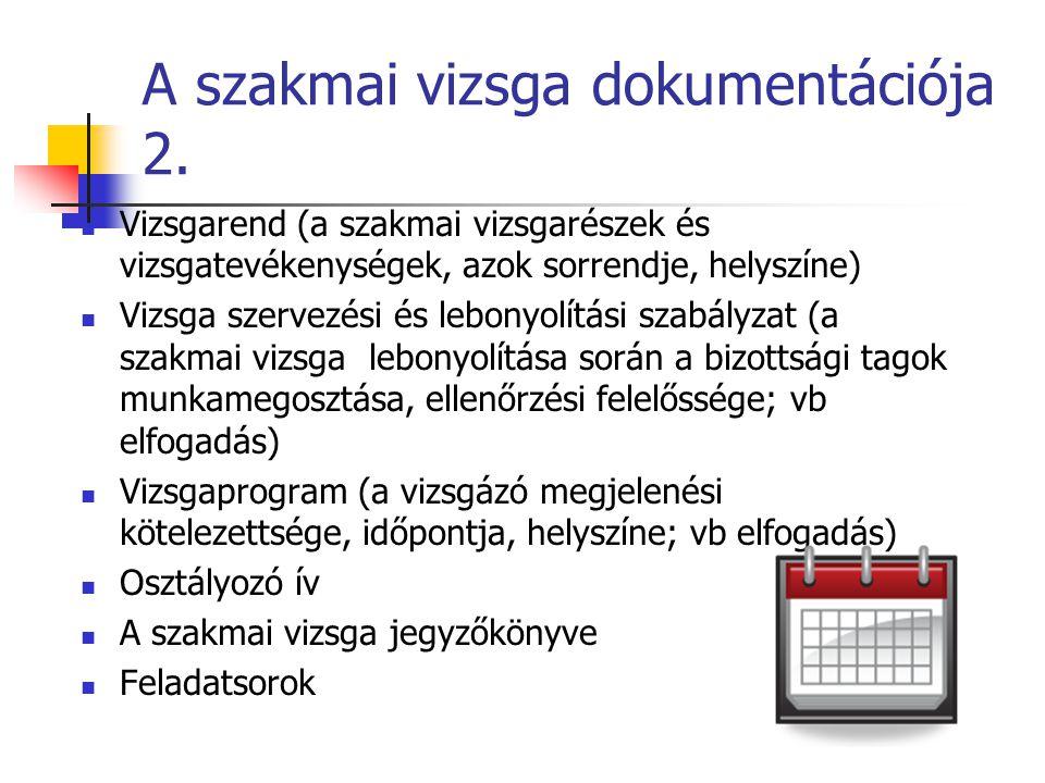 A szakmai vizsga dokumentációja 2. Vizsgarend (a szakmai vizsgarészek és vizsgatevékenységek, azok sorrendje, helyszíne) Vizsga szervezési és lebonyol