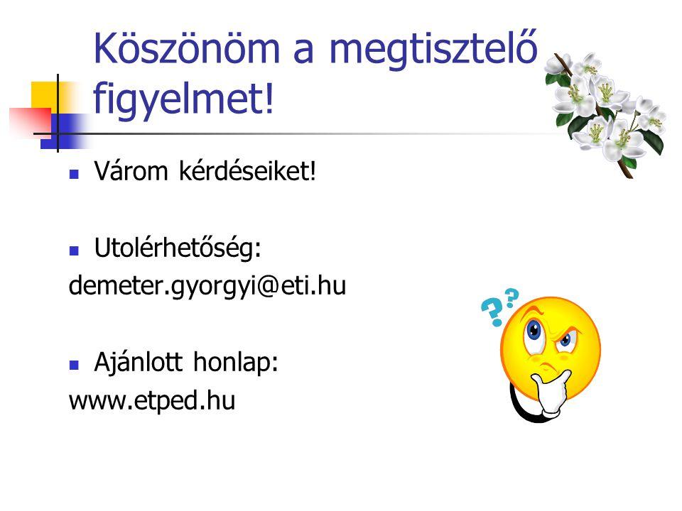 Köszönöm a megtisztelő figyelmet! Várom kérdéseiket! Utolérhetőség: demeter.gyorgyi@eti.hu Ajánlott honlap: www.etped.hu