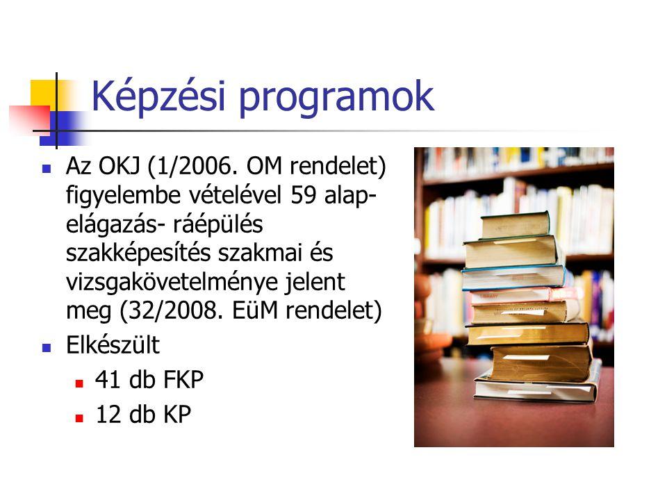 Képzési programok Az OKJ (1/2006. OM rendelet) figyelembe vételével 59 alap- elágazás- ráépülés szakképesítés szakmai és vizsgakövetelménye jelent meg