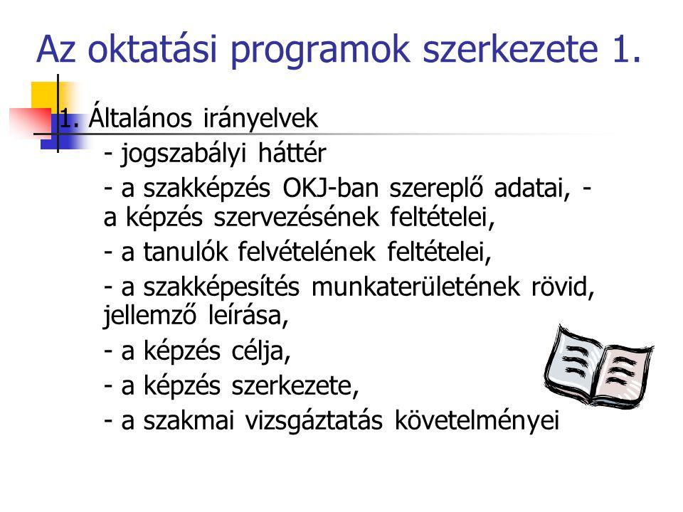 Az oktatási programok szerkezete 1. 1. Általános irányelvek - jogszabályi háttér - a szakképzés OKJ-ban szereplő adatai, - a képzés szervezésének felt